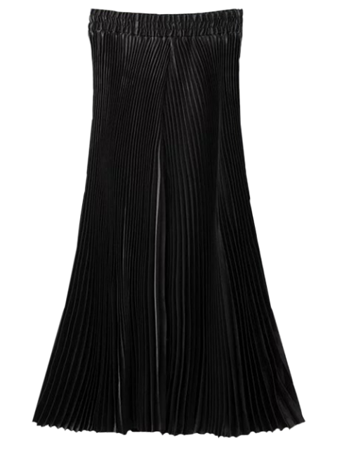 lady High Waisted Pleated Wide Leg Capri Pants - BLACK ONE SIZE Mobile