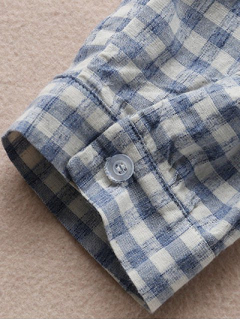 ladies Button Up Plaid Smock Shirt Dress - CHECKED ONE SIZE Mobile
