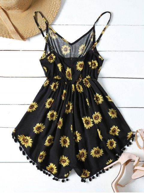 sale Sunflower Print Cami Beach Romper - BLACK S Mobile