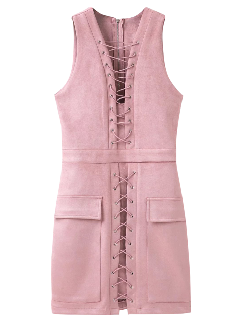 fashion Suede Lace Up Bodycon Vest Dress - PINK L Mobile