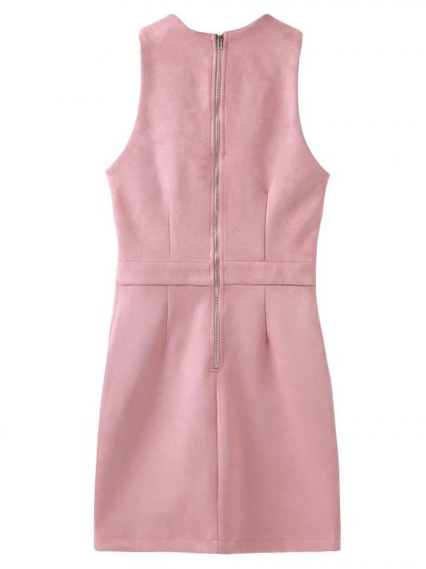 fancy Suede Lace Up Bodycon Vest Dress - PINK S Mobile