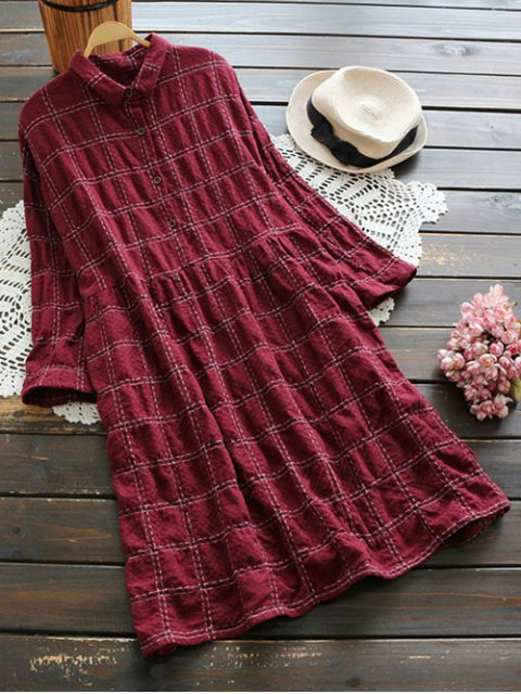 women's Buttoned Plaid Long Sleeve Dress - DARK RED ONE SIZE Mobile