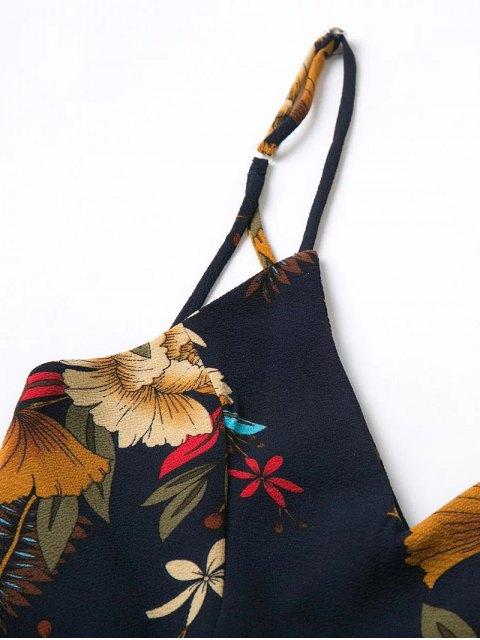 affordable Cross Back Floral Cami Romper - PURPLISH BLUE M Mobile