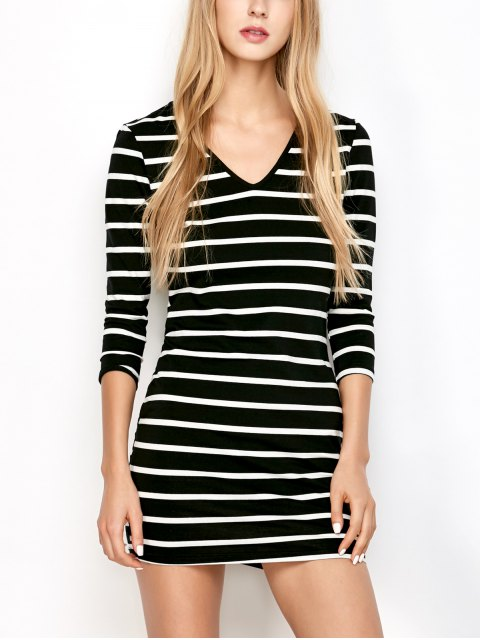 womens Fitted Striped T-Shirt Dress - COLORMIX ONE SIZE Mobile
