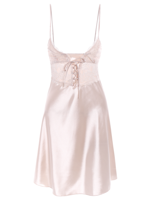 hot Cami Lace Up Lace Panelled Babydoll - CHAMPAGNE XL Mobile