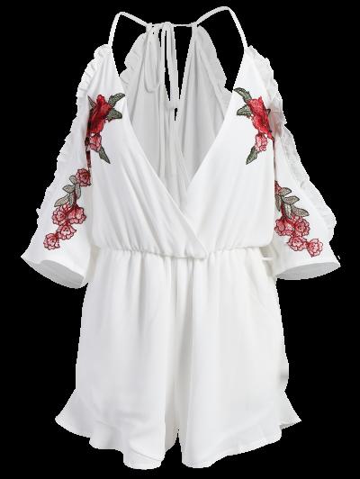 Embroidered Surplice Cami Romper - WHITE L Mobile