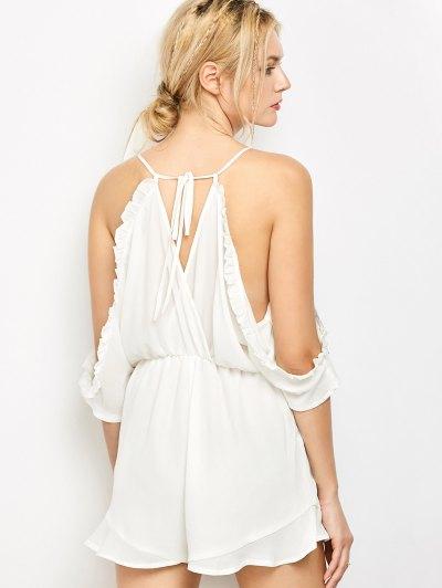 Embroidered Surplice Cami Romper - WHITE S Mobile