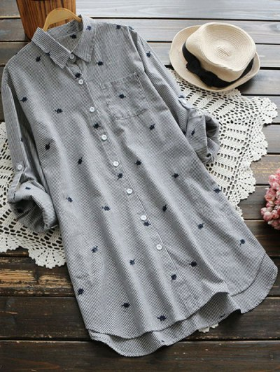 Leaf Embroidered Striped Pocket Tunic Shirt - Gray