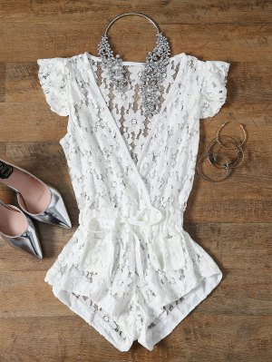 Deep V Neck Crochet Flower Romper Cover-Up
