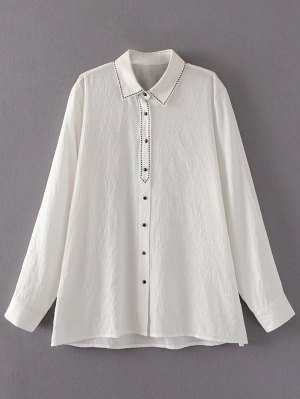 Embroidered Single-Breasted Linen Shirt - White