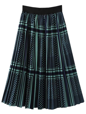 Patterned Pleated A Line Skirt