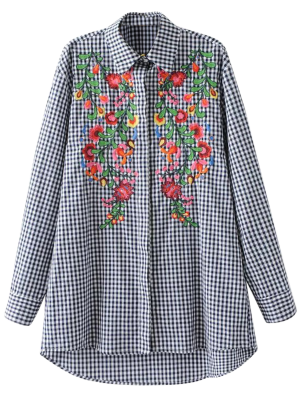 Plaid Floral Embroidered Checkered Shirt - Checked