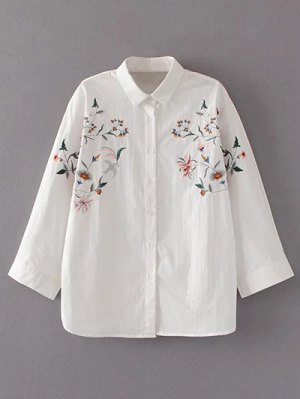 Floral Embroidered Loose Shirt - White