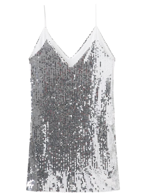 Plunging Neck Sequins Cami Dress - Silver