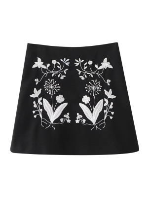 Ethnic Floral Embroidered A-Line Skirt - Black