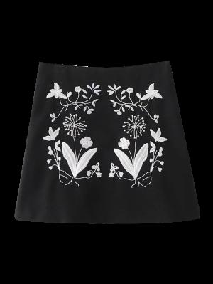 Ethnic Floral Embroidered A-Line Skirt - Black