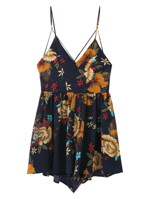 Cross Back Floral Cami Romper - Purplish Blue