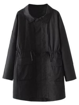 Drawstring Waist Trench Coat With Pockets - Black