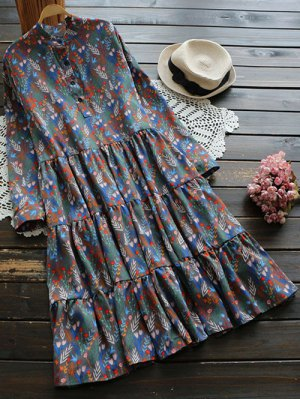 Long Sleeve Floral Buttoned Dress