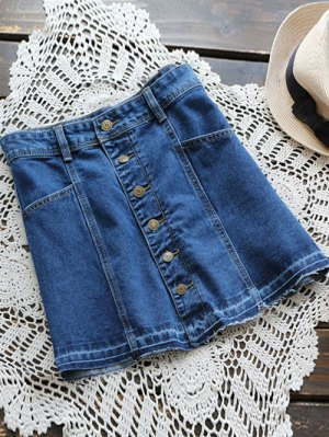 Button Up Denim Mini Skirt - Denim Blue