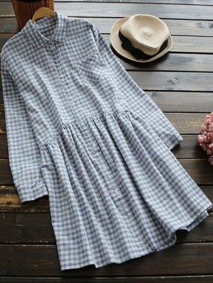 Button Up Plaid Smock Shirt Dress - Checked