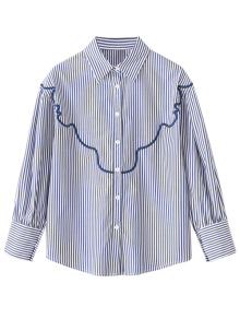 Wave Embroidered Striped Shirt