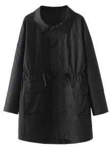 Drawstring Waist Trench Coat With Pockets - Black 2xl
