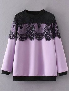 Sheer Shoulder Lace Insert Sweatshirt