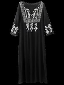 Embroidery Side Slit Vintage Dress