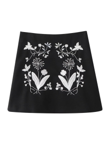 Ethnic Floral Embroidered A-Line Skirt