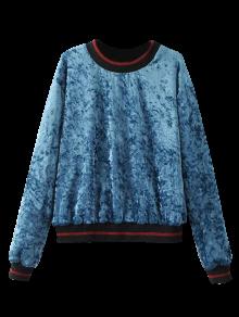 Loose Crushed Velvet Sweatshirt - Blue L
