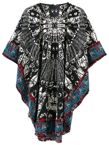 Tribal Print Oversized Kimono Dress