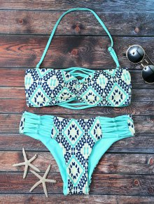 Tile Print Tube Bandeau Bikini
