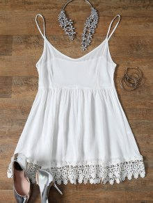 Spaghetti Strap Low Cut Lace Spliced Dress - White L