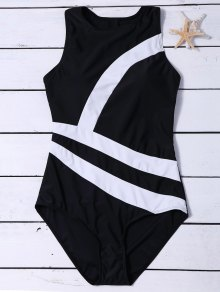 Zippered Color Block Swimwear