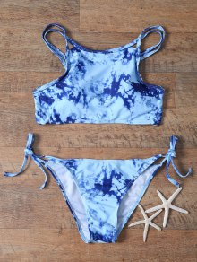 Printed High Neck Criss Back Bikini Set
