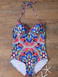 Spaghetti Straps Printed Gathered One-Piece Swimwear
