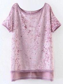 Slit High Low Velvet T-Shirt