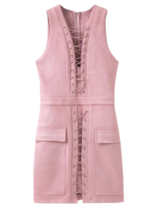 Suede Lace Up Bodycon Vest Dress - Pink