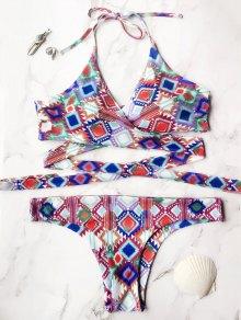 Printed Wrap Front Bikini