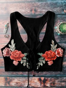 Lace Up Embroidered Knitted Cropped Tank Top