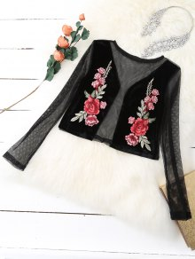 Mesh Floral Embroidered Crop Top - Black