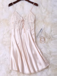 Cami Lace Up Lace Panelled Babydoll - Champagne Xl