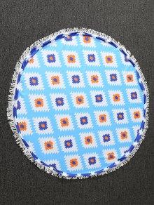 Geometric Print Tapestry Beach Throw - Blue