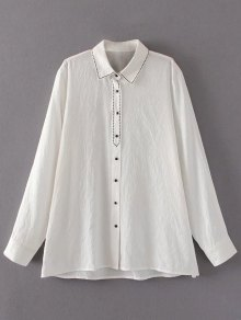Embroidered Single-Breasted Linen Shirt