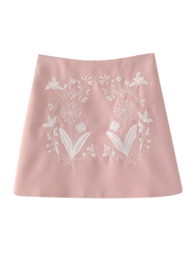 Ethnic Floral Embroidered A-Line Skirt - Pink
