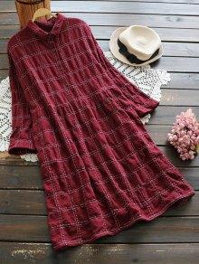Robe écossaise Boutonnée à Manches Longues - Rouge Foncé