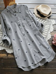 Leaf Embroidered Striped Pocket Tunic Shirt