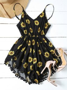 Sunflower Print Cami Beach Romper - Black