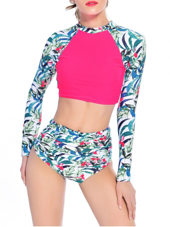 Leaf Print High Waisted Ruched Tankini - ROSE RED M Mobile